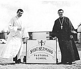 Fr. Joseph Kreta, left, and Fr. Paul Merculief at 1973 opening in Kenai
